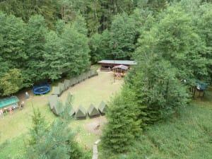 Letecký pohled na tábor z borovice