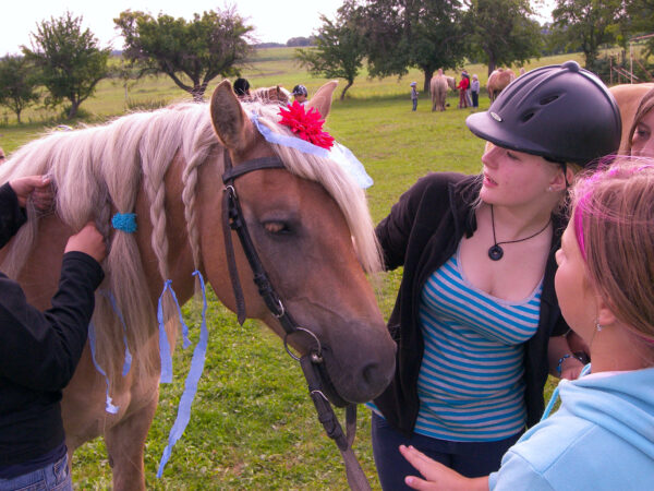 Děti pečují o koně